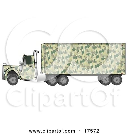 Clipart Illustration of a Green Camouflage Semi Diesel Truck Pulling A Matching Cargo Trailer by djart