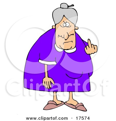 Clipart Illustration Of A Mean Old Caucasian Lady With Gray Hair Flipping Off The Viewer