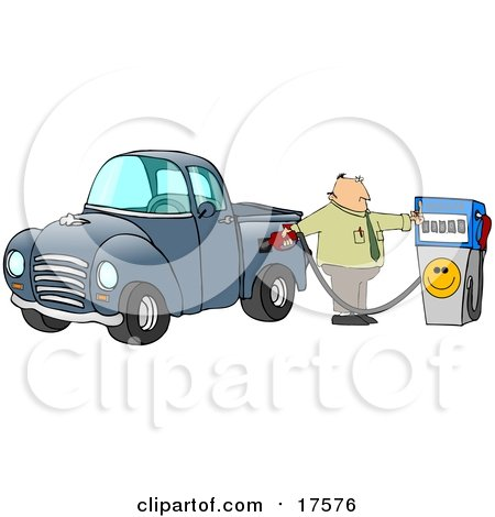 Frustrated Caucasian Business Man Flipping Off The Smiley Face On A Fuel Pump While Filling Up The Gasoline Tank Of His Blue Pickup Truck At A Gas Station Posters, Art Prints