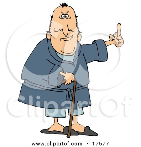 Clipart Illustration Of A Grumpy Old Caucasian Man Leaning On A Cane And Flipping Someone The Bird