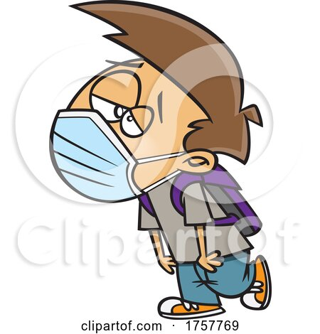 Cartoon Exhausted Boy Wearing a Mask by toonaday