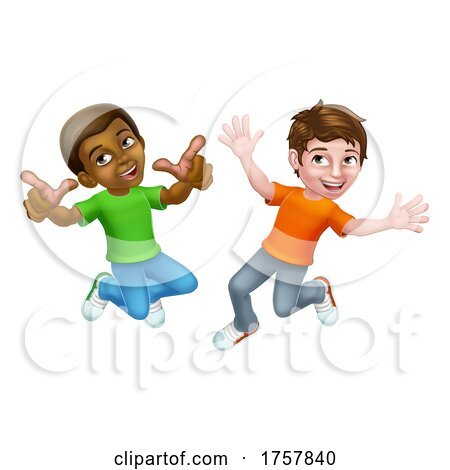 Jumping Boys Kids Children Cartoon by AtStockIllustration
