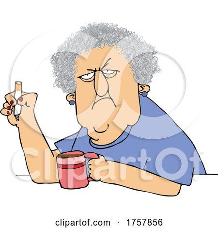 Cartoon Crotchety Old Lady Smoking and Drinking Coffee by djart