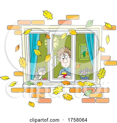 Cat and Man Looking Through a Window with Autumn Leaves Falling by Alex Bannykh