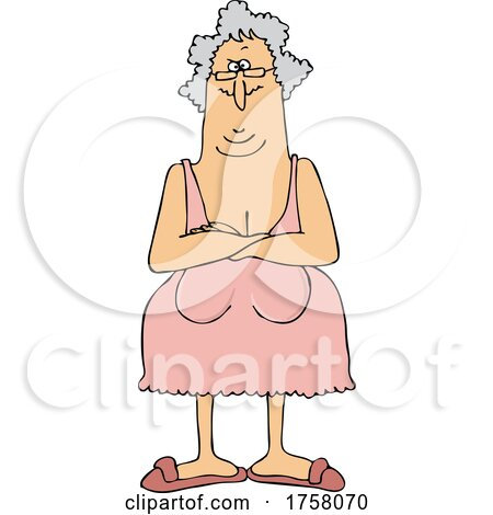 Cartoon Senior Woman with Her Breasts Hanging Low by djart