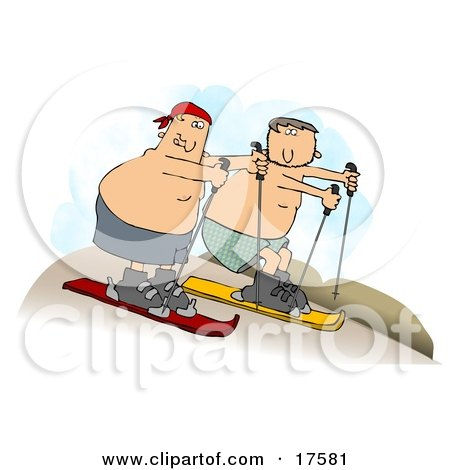 Clipart Illustration of Two Shirtless Caucasian Men In Shorts, Sand Surfing Downhill In A Desert by djart