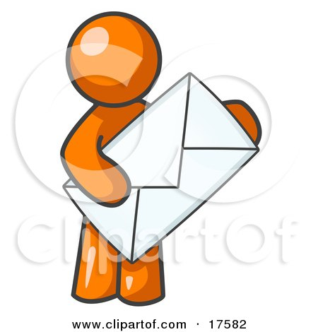 Orange Person Standing And Holding A Large Envelope, Symbolizing Communications And Email Posters, Art Prints