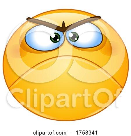 Cartoon Grumpy Yellow Smiley Emoticon Emoji by yayayoyo