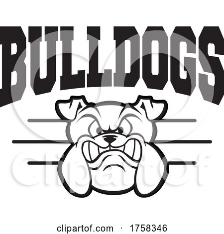 Black and White Growling Mascot Head Under BULLDOGS Text by Johnny Sajem