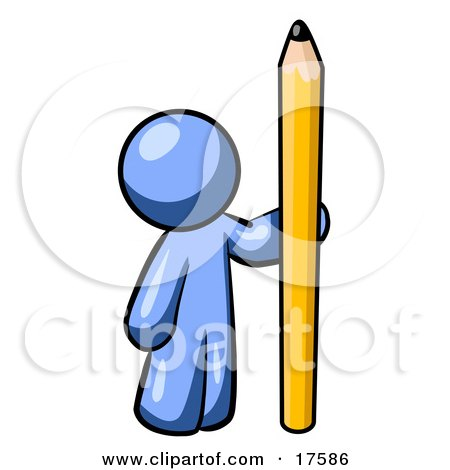 Clipart Illustration of a Blue Man Holding Up And Standing Beside A Giant Yellow Number Two Pencil by Leo Blanchette
