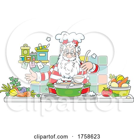 Santa Cooking Soup by Alex Bannykh