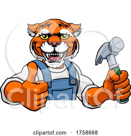 Tiger Carpenter Handyman Builder Holding Hammer by AtStockIllustration