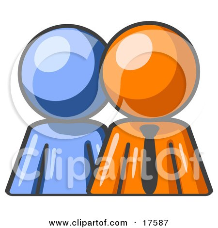 Clipart Illustration of a Blue Person Standing Beside An Orange Businessman, Symbolizing Teamwork Or Mentoring by Leo Blanchette
