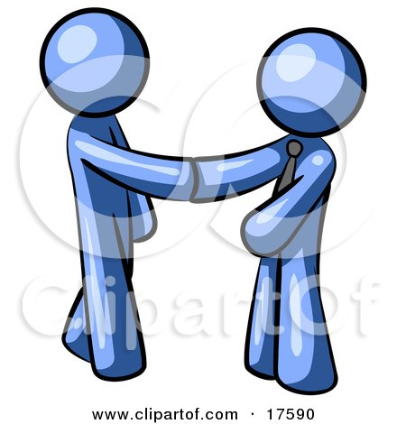 Clipart Illustration Of A Blue Man Wearing A Tie Shaking Hands With