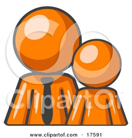 Clipart Illustration of an Orange Child Or Employee Standing Beside A Bigger Orange Businessman, Symbolizing Management, Parenting Or Mentorship by Leo Blanchette
