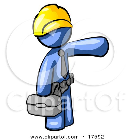 Clipart Illustration of a Blue Man, A Construction Worker, Handyman Or Electrician, Wearing A Yellow Hardhat And Tool Belt And Carrying A Metal Toolbox While Pointing To The Right by Leo Blanchette