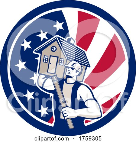Retro Male Mover or Builder Holding a House and Level in an American Flag Circle by patrimonio