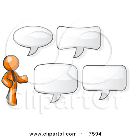 Clipart Illustration of an Orange Businessman With Four Different Word Bubbles by Leo Blanchette