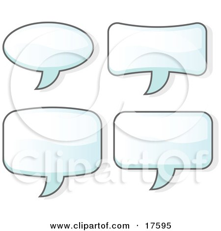 Clipart Illustration of a Set of Four Word Balloons by Leo Blanchette