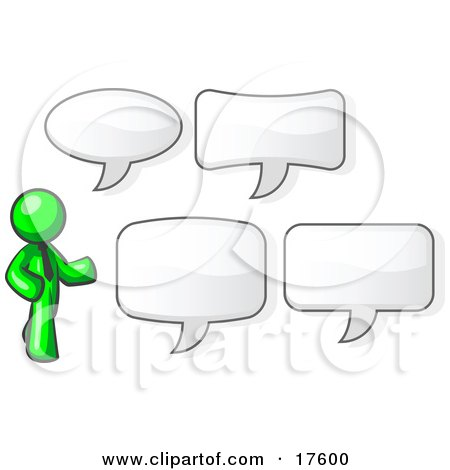 Clipart Illustration of a Lime Green Businessman With Four Different Word Bubbles by Leo Blanchette