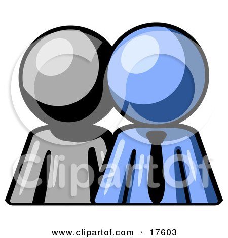 Clipart Illustration of a Gray Person Standing Beside A Blue Businessman, Symbolizing Teamwork Or Mentoring by Leo Blanchette