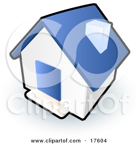 Clipart Illustration of a Blue And White House With a Blue Door by Leo Blanchette