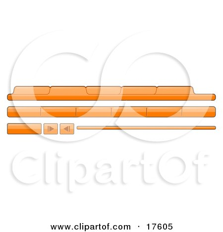 Clipart Illustration of Orange Category Tabs, Forward And Back Buttons For Web Design by Leo Blanchette