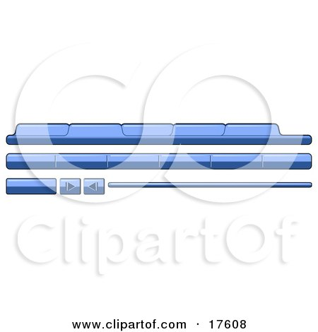 Clipart Illustration of Blue Category Tabs, Forward And Back Buttons For Web Design by Leo Blanchette