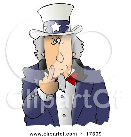 Angry Uncle Sam Flipping Off The Viewer Clipart Illustration