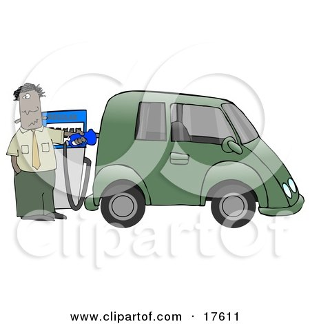 A Hispanic Or Black Businessman Standing At A Gas Pump While Anxiously Fueling His Tank And Spending Money He Doesn't Want To To Fill Up His Green Car Which Resembles A Minivan Clipart Illustration by djart