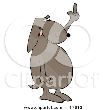 Frustrated Dog Flipping Off His Owner After Not Getting His Daily Walk Clipart Illustration