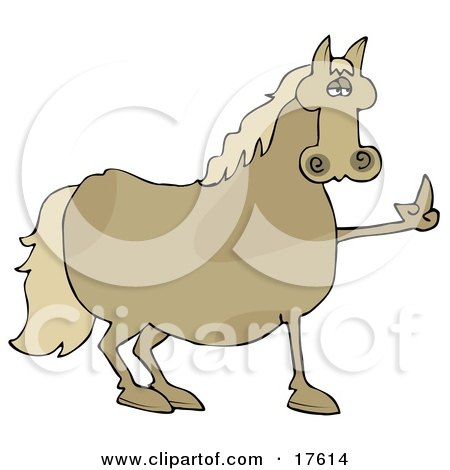Pissed Brown Horse Flipping Off A Farmer After Not Being Fed His Oats Clipart Illustration
