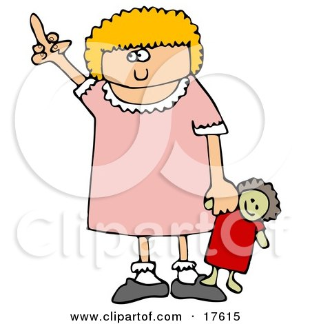 Angry Little Blond Girl Holding Her Doll And Flipping Someone Off After Not Getting Her Way Clipart Illustration