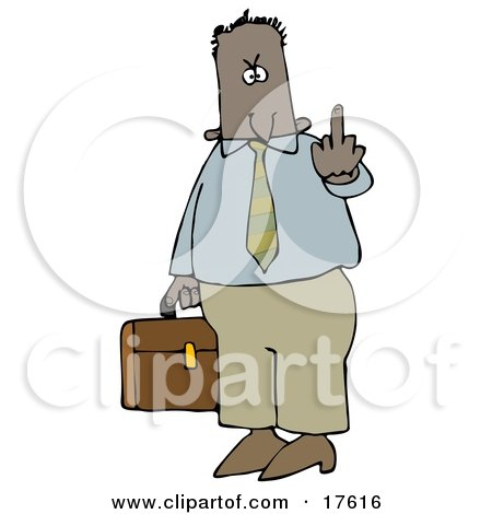 Mad Hispanic Or Black Business Man Carrying A Briefcase And Flipping Someone Off For Being Rude Clipart Illustration