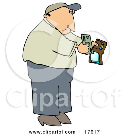 Middle Aged Caucasian Man Holding His Wallet Open To Pull Out Cash To Make A Payment Clipart Illustration by djart