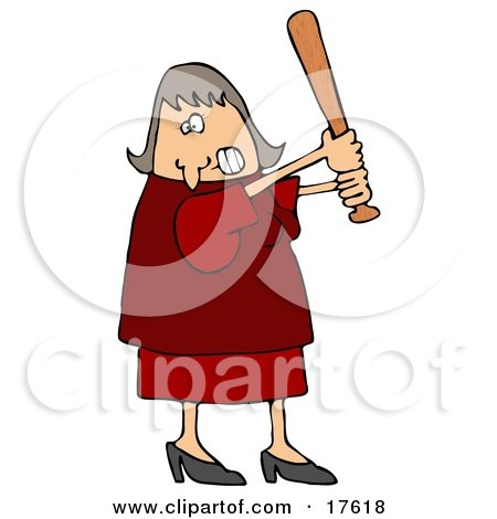 Angry Caucasian Woman In A Red Dress And Heels Swinging A Wooden Baseball Bat After Someone Really Ticked Her Off Clipart Illustration