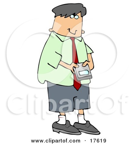 Young Caucasian Businessman Using A Smart Phone To Check His Email Clipart Illustration by djart