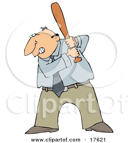 Angry Middle Aged Caucasian Businessman Preparing To Swing A Bat After Someone Pissed Him Off Clipart Illustration