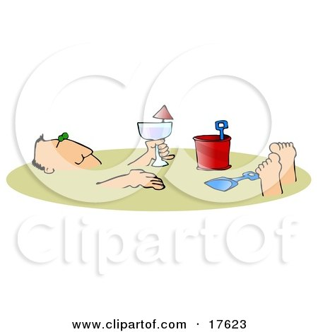 Relaxed Caucasian Man Holding An Alcoholic Beverage And Relaxing After Being Buried In The Warm Sand On A Beach During Summer Vacation Clipart Illustration by djart