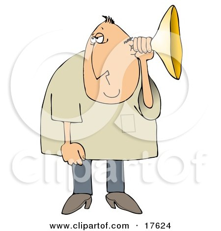 Middle Aged Caucasian Man Holding An Ear Horn Or Ear Trumpet To His Ear To Amplify His Hearing Clipart Illustration by djart