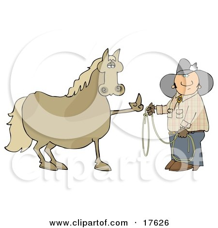 Fussy And Angry Brown Horse Flipping Off A Confused Cowboy Who Is Trying To Put A Lasso Around Him Posters, Art Prints