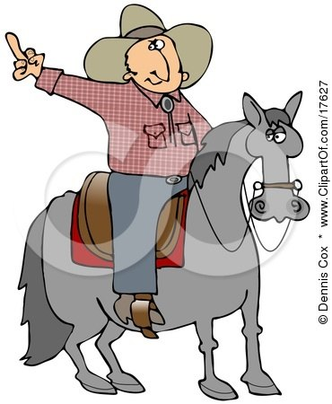 Pissed Off Cowboy Sitting On A Saddle On A Horse, Flipping Off Someone Behind Him Clipart Illustration by djart