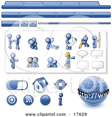Blue Man Web Design Kit With Tabs, Icons and Web Buttons Clipart Illustration by Leo Blanchette