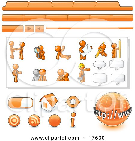 Orange Man Web Design Kit With Tabs Icons And Web Buttons Clipart Illustration