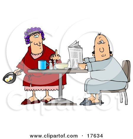 Angry Caucasian Woman, A Wife, With Her Hair Up In Curlers, Holding A Frying Pan With Two Eggs In It And Flipping Off Her Husband Clipart Illustration by djart