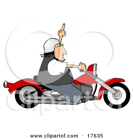 Angry Caucasian Biker Man Riding A Red Motorcycle And Flipping Someone Off Who Doesnt Know How To Drive Clipart Illustration