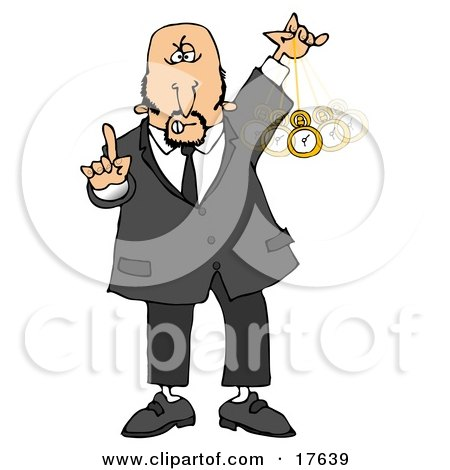 Bald middle aged caucasian man in a suit holding one finger up and