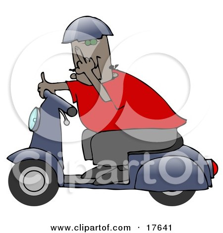 Rude Black Man Wearing A Blue Helmet, Red Shirt And Brown Pants, Riding Past On A Blue Scooter And Flipping The Viewer Off Posters, Art Prints