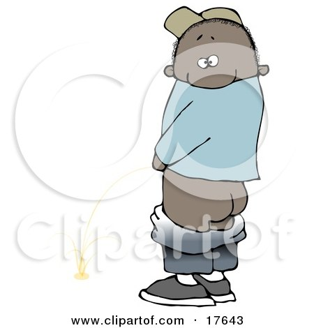 Mischievious African American Boy Baring His Rear End While Urinating In Public And Looking Back At The Viewer  Posters, Art Prints