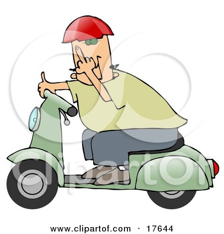 Rude Caucasian Man Wearing A Red Helmet, Green Shirt And Blue Pants, Riding Past On A Green Scooter And Flipping The Viewer Off Clipart Illustration by djart